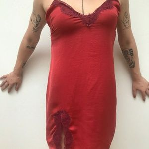 Red lace silk dress